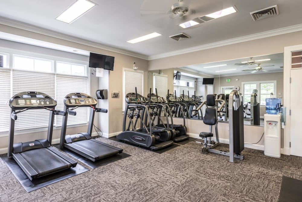 A well equipped onsite fitness center at The Blvd at White Springs in Nottingham, Maryland