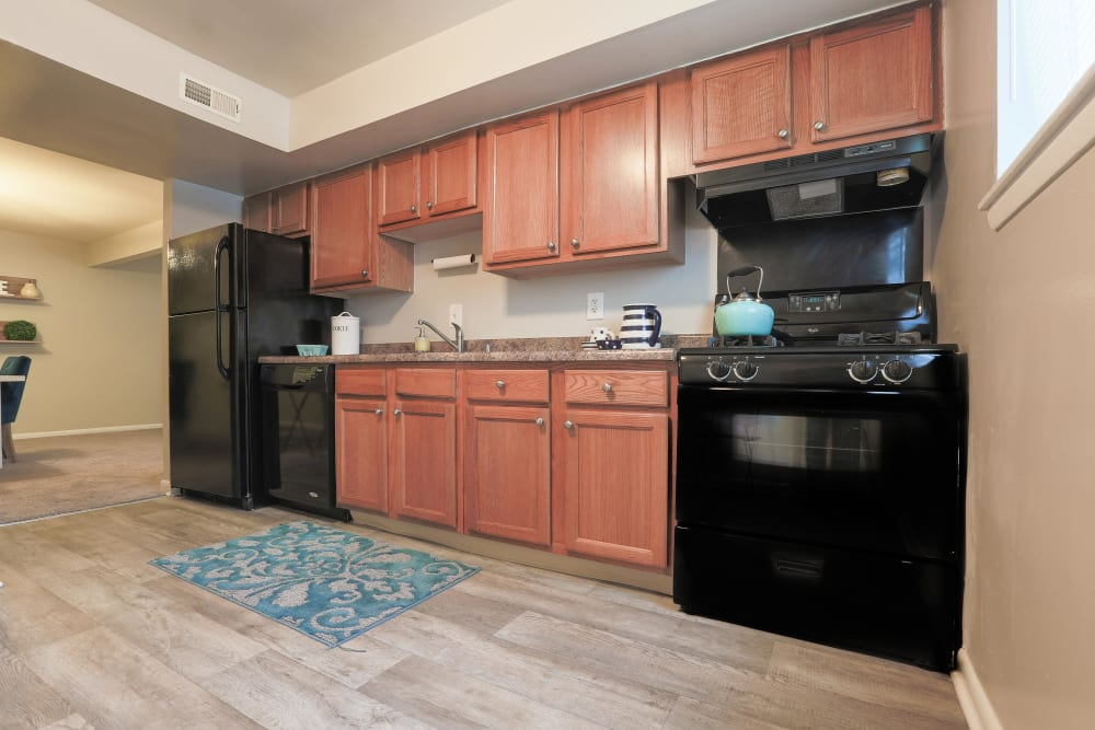 Black kitchen appliances in a model apartment at The Blvd at White Springs in Nottingham, Maryland