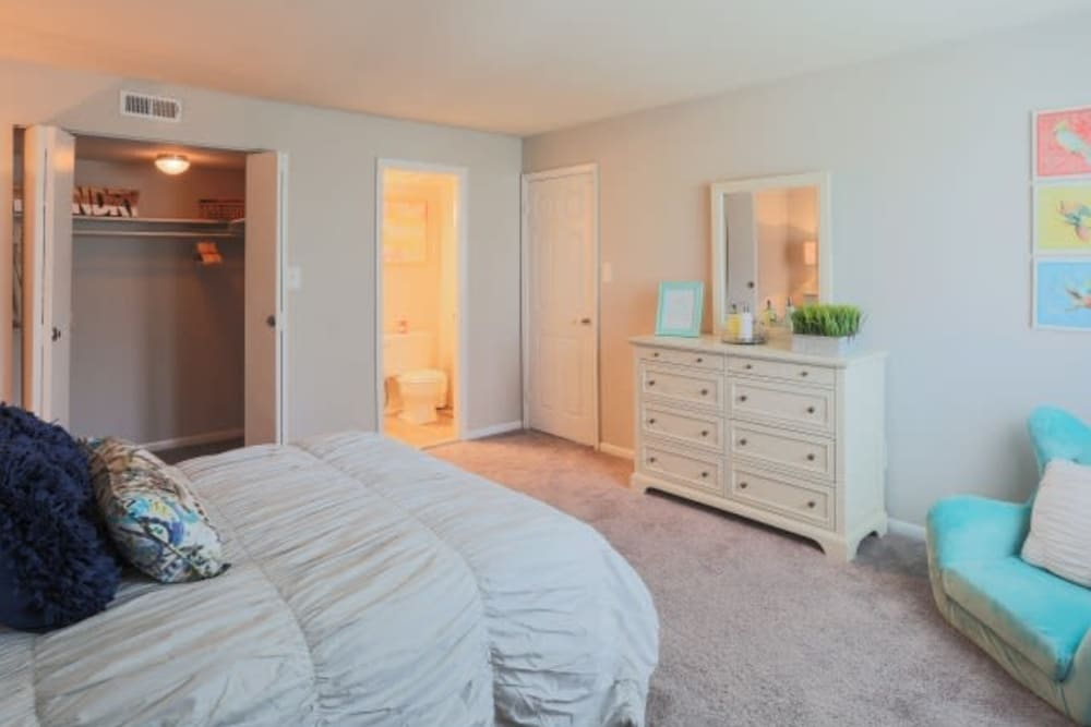 A spacious master bedroom at The Blvd at White Springs in Nottingham, Maryland