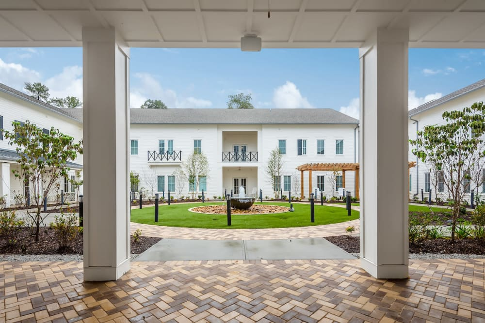 Exterior view of the courtyard at The Claiborne at Gulfport Highlands in Gulfport, Mississippi.