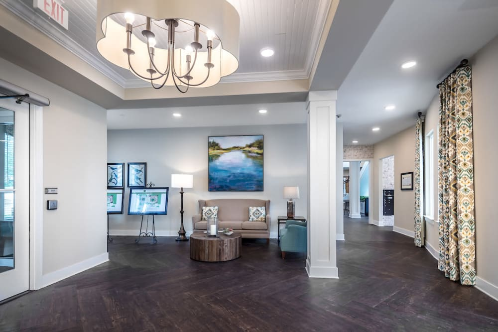 Lobby with wall art at The Claiborne at Gulfport Highlands in Gulfport, Mississippi.