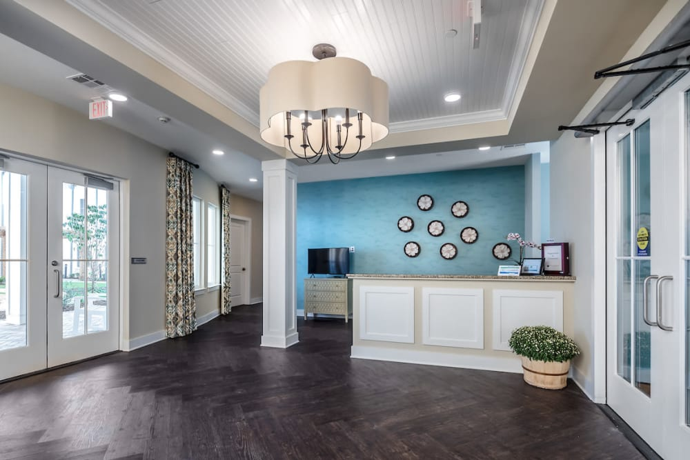 Front desk reception at The Claiborne at Shoe Creek in Baton Rouge, Louisiana.