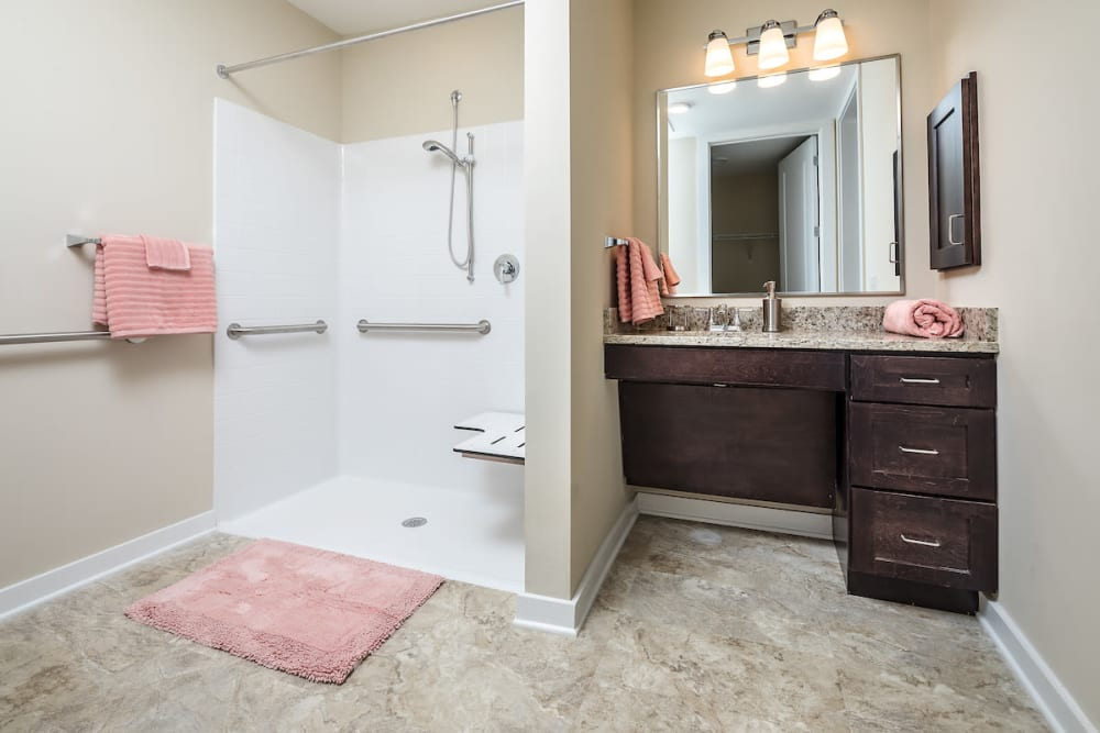 Resident bathroom at The Claiborne at Shoe Creek in Baton Rouge, Louisiana.