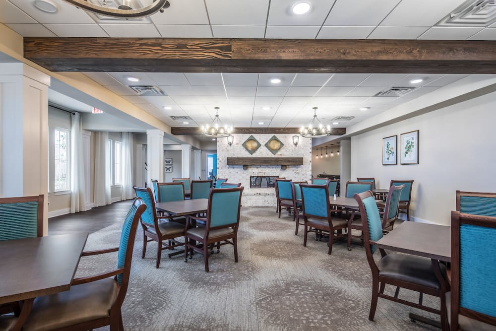 Resident dining room at The Claiborne at Shoe Creek in Baton Rouge, Louisiana.