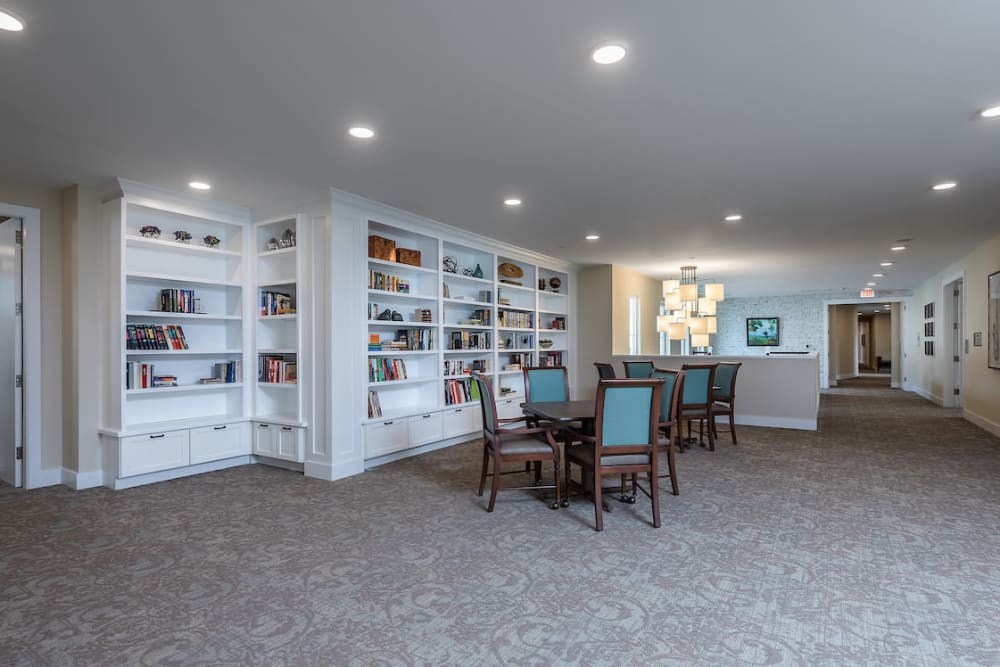 Resident reading area at The Claiborne at Shoe Creek in Baton Rouge, Louisiana.