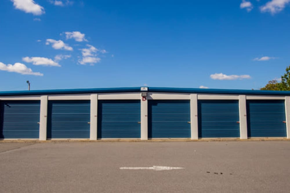 Roll-up doors on self storage units at StayLock Storage in Rock Hill, South Carolina