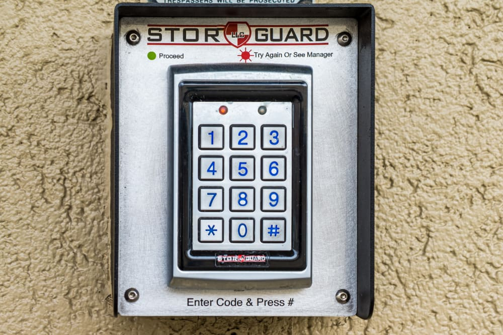 Our security access keypad at our storage facility in Olympia, WA.