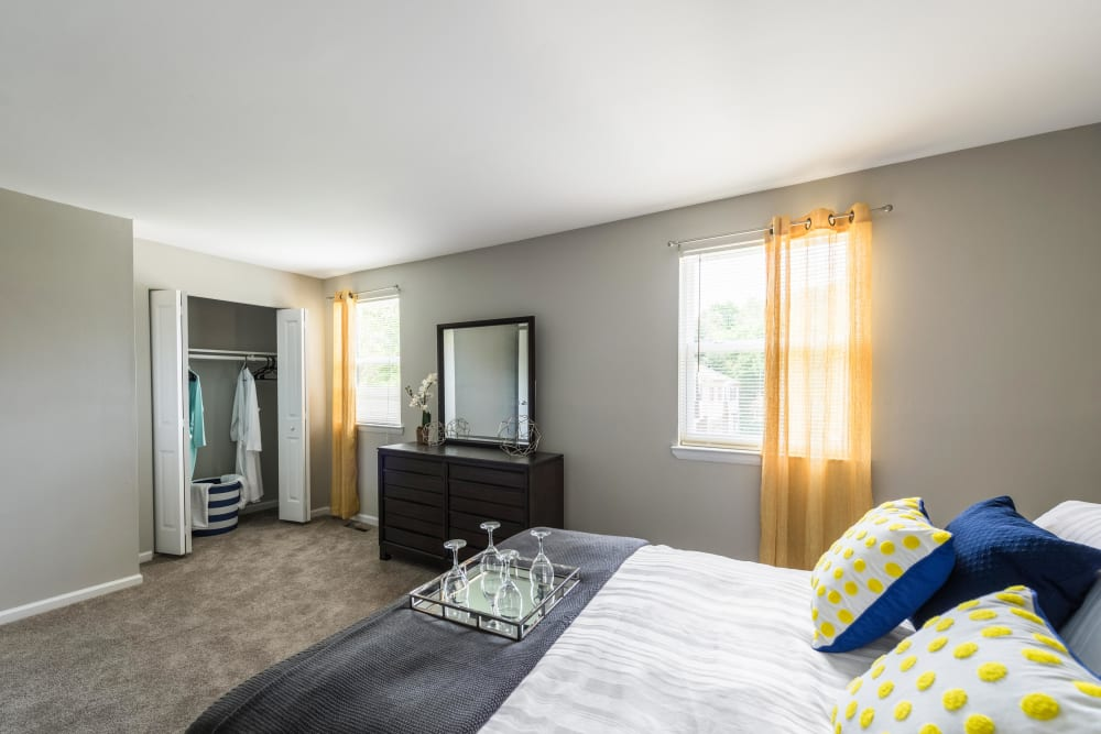 A spacious apartment bedroom at The Springs in Parkville, Maryland