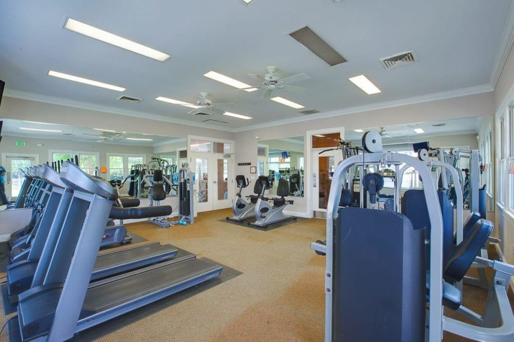 A well equipped fitness center for residents at The Springs in Parkville, Maryland