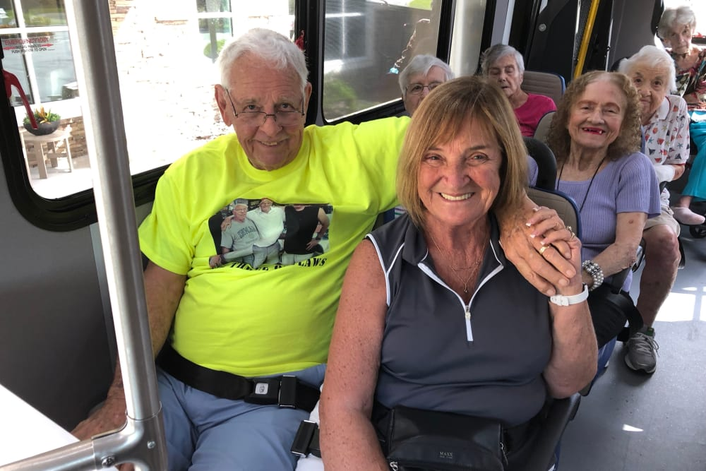 Residents on an activity bus at CERTUS Premier Memory Care Living in Vero Beach, Florida.