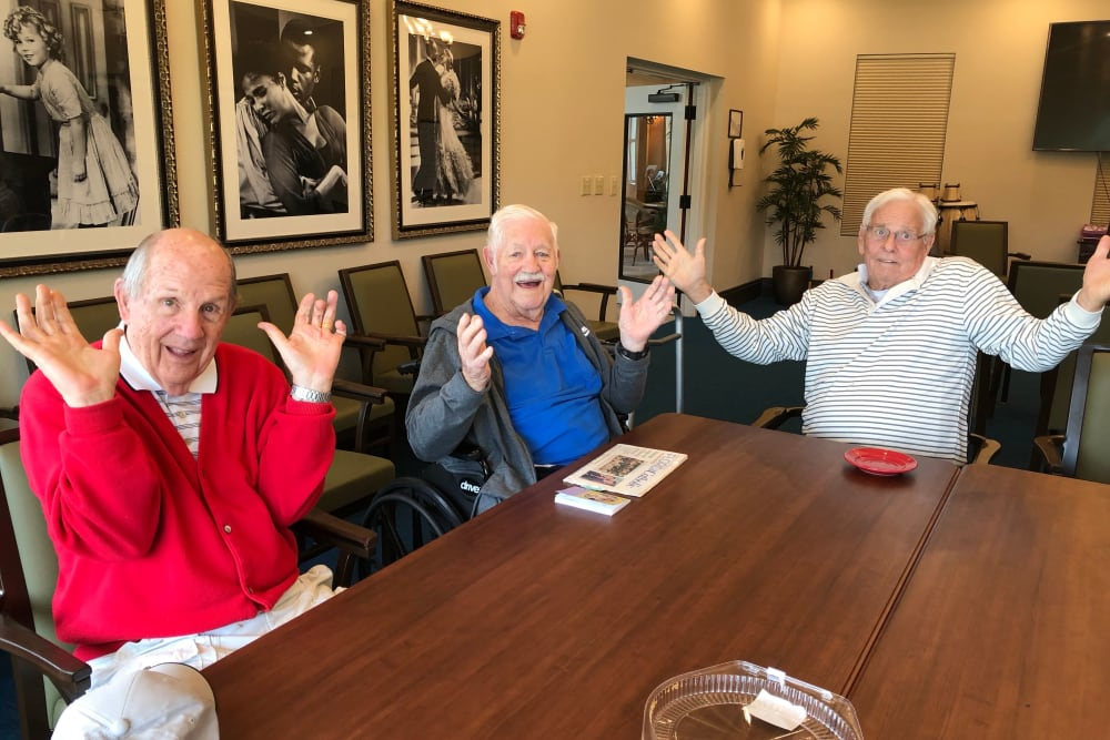 A few resident friends hanging out at CERTUS Premier Memory Care Living in Mount Dora, Florida.