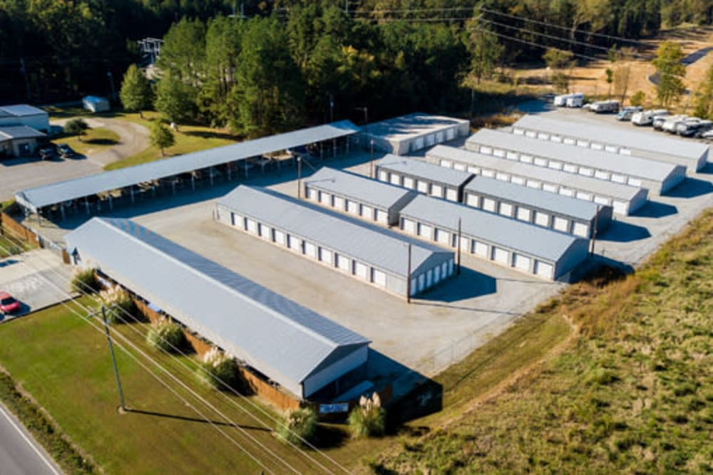 Aerial view our storage units at StayLock Storage in Chapin, South Carolina