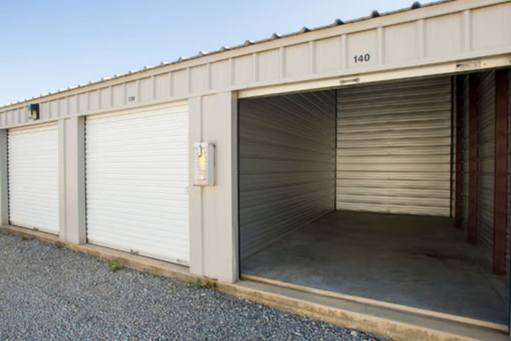 Garage style roll up doors on self storage units at StayLock Storage in Chapin, South Carolina
