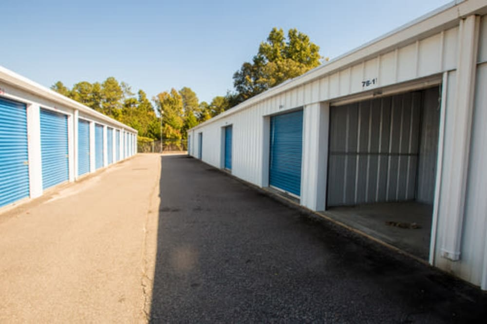 Roll-up doors for self storage units at StayLock Storage in Hartsville, South Carolina