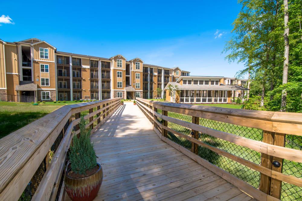 Outdoor walkway at Lodge at Croasdaile Farm in Durham, North Carolina