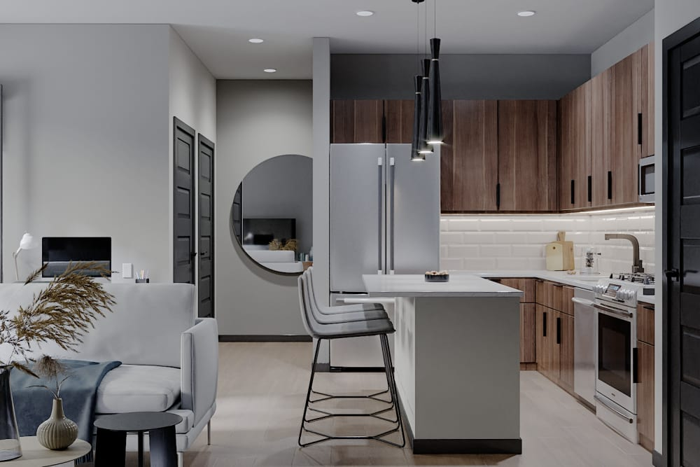 Rendering of a modern kitchen at Solana Stapleton Apartments in Denver, Colorado