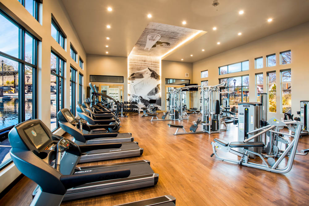 Fully equipped fitness center at Solana Stapleton Apartments in Denver, Colorado