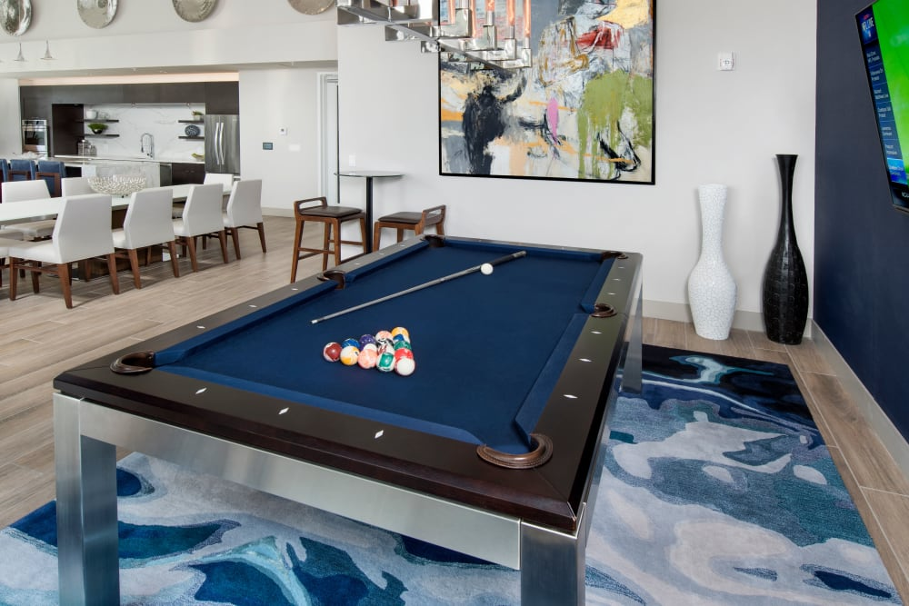 Billiards table in The Flats's clubhouse in Doral, Florida