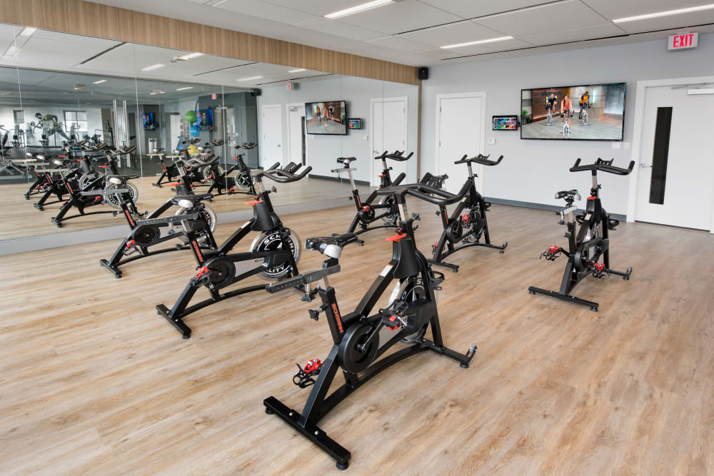 Spin and yoga room at The Flats in Doral, Florida