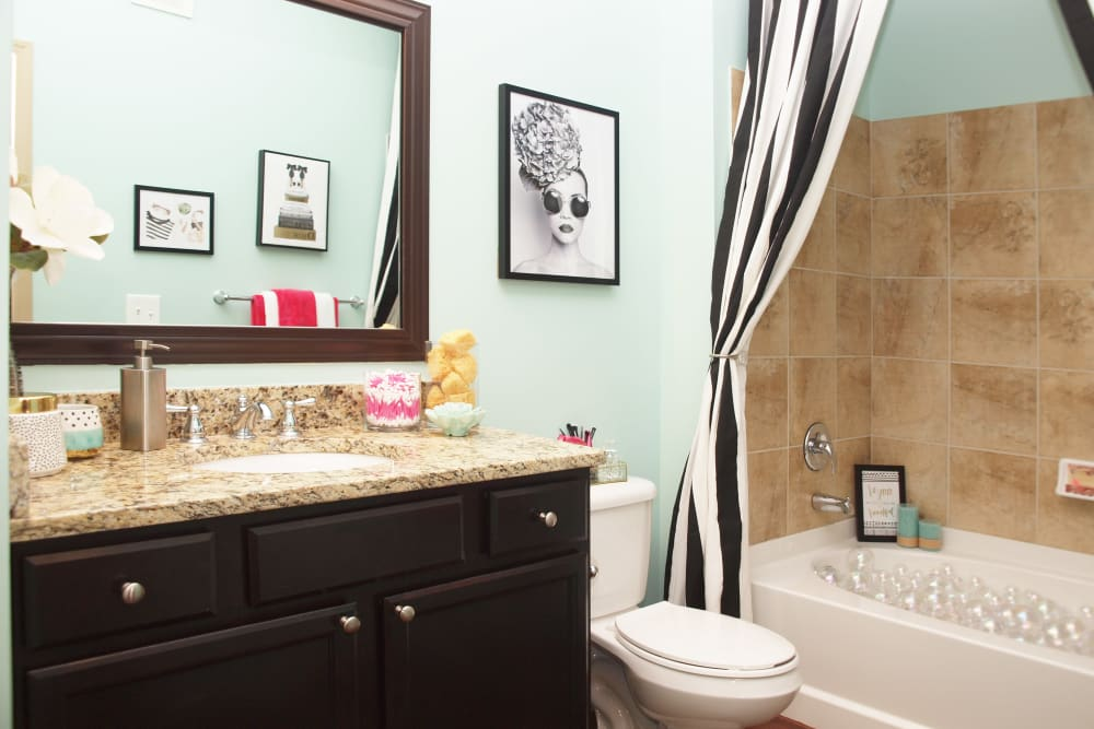 Bathroom with shower and bathtub at Palmera Apartments in Mason, Ohio