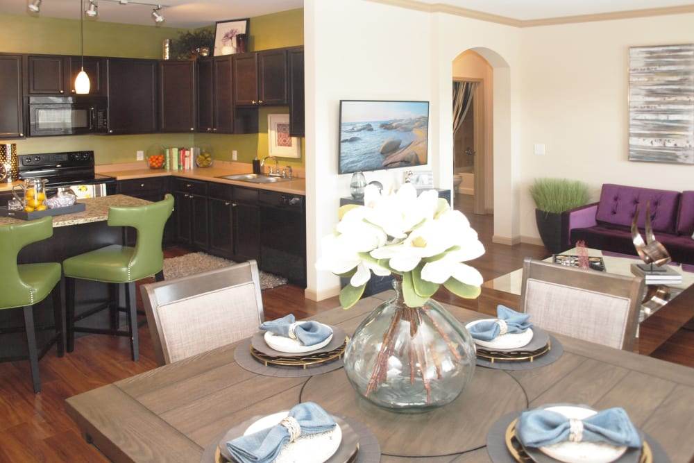 View from dining area into Kitchen at Palmera Apartments in Mason, Ohio