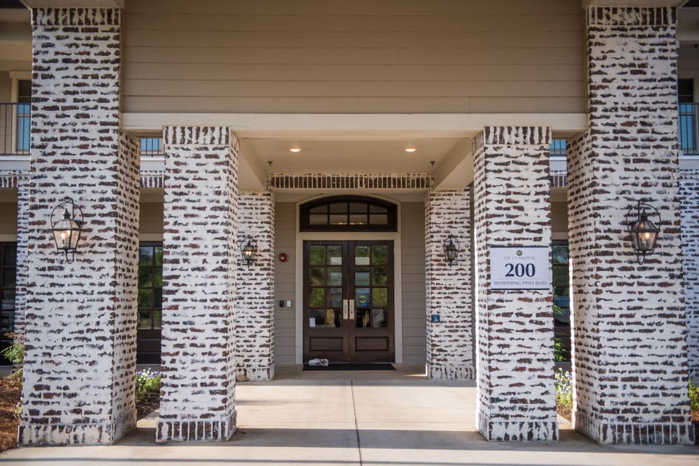Front doors of The Claiborne at Hattiesburg Assisted Living in Hattiesburg, Mississippi