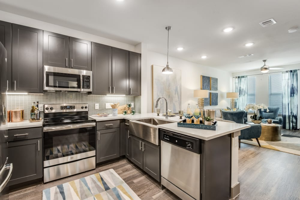 Bright, spacious kitchen at Enclave at Woodland Lakes in Conroe, Texas