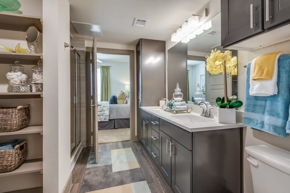 Bright, clean master bathroom at Enclave at Woodland Lakes in Conroe, Texas