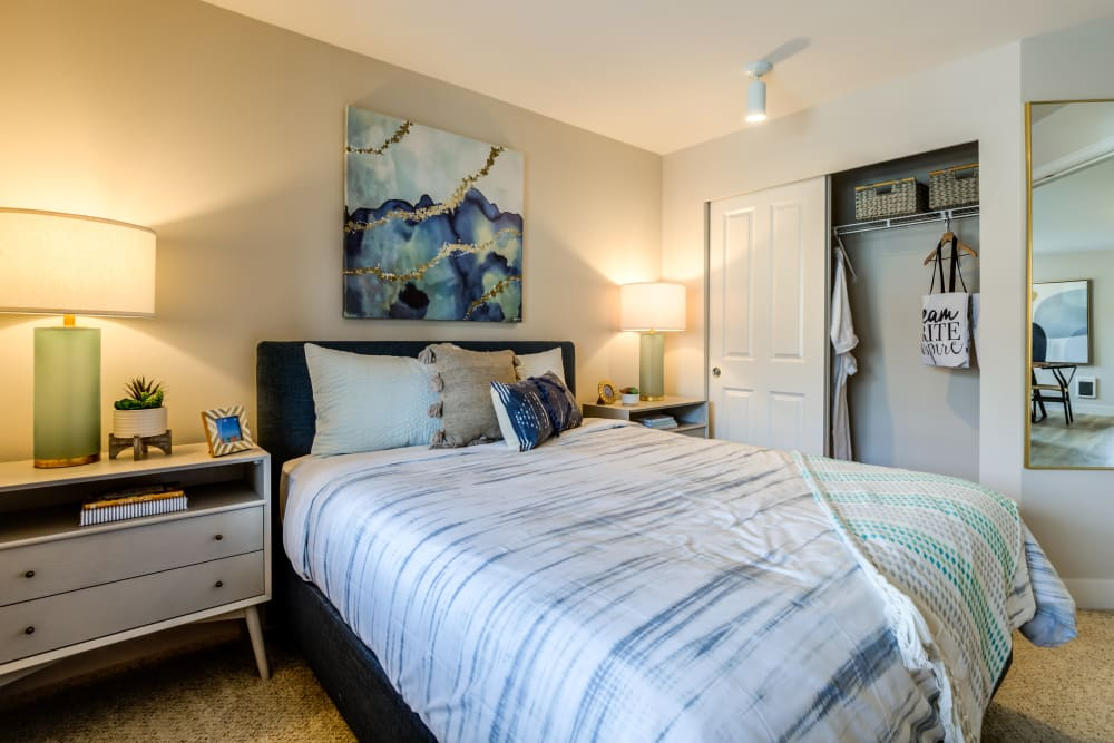 Comfortable bedroom at Vue Issaquah in Issaquah, Washington