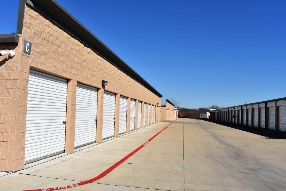 Drive-up storage units at Storage 365 in Garland, Texas