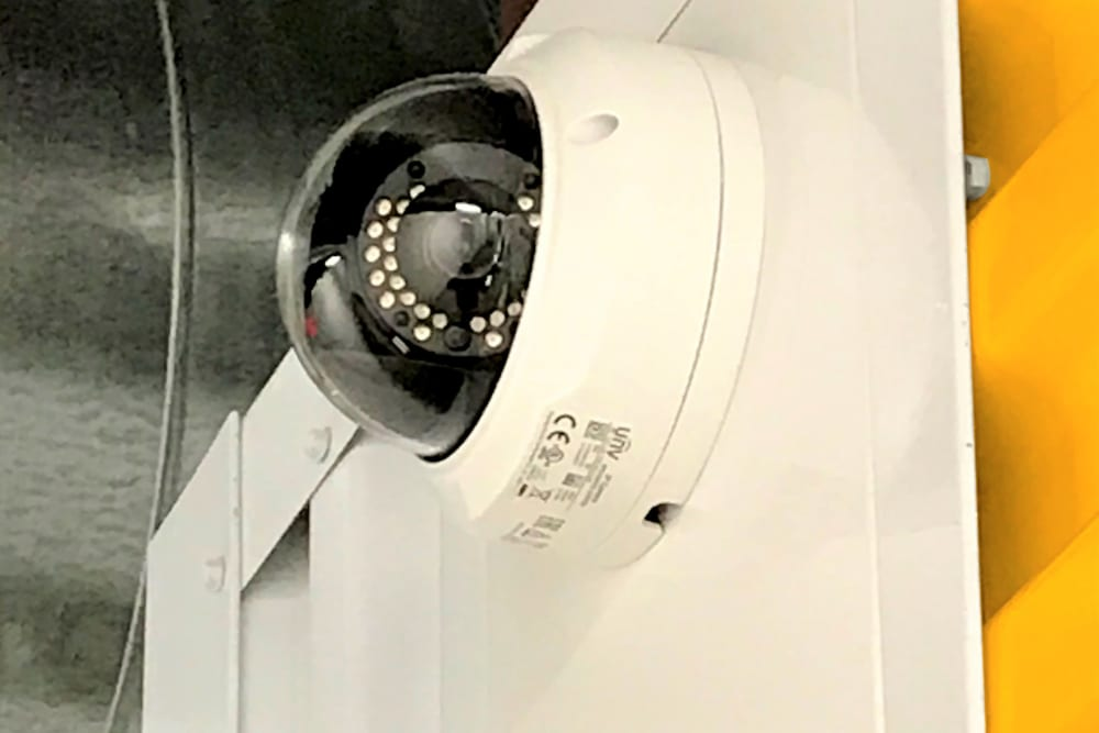 A security camera at Storage 365 in Irving, Texas