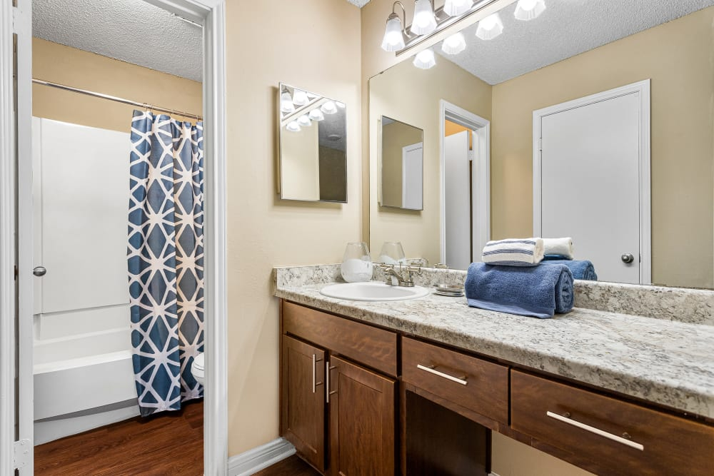 Bathroom at Stoneybrook Apartments & Townhomes in San Antonio, Texas
