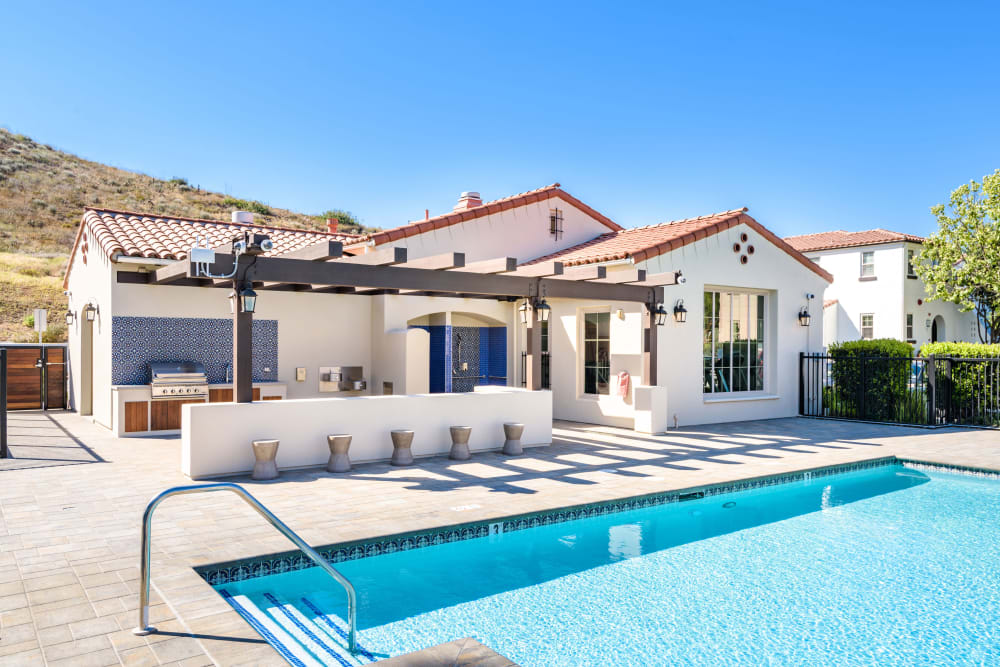 Resort-style swimming pool on a beautiful day at Mission Hills in Camarillo, California