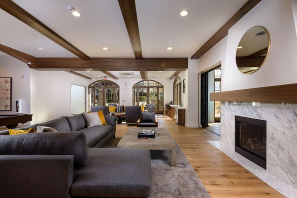 Fireplace at one of the lounge areas at Mission Hills in Camarillo, California