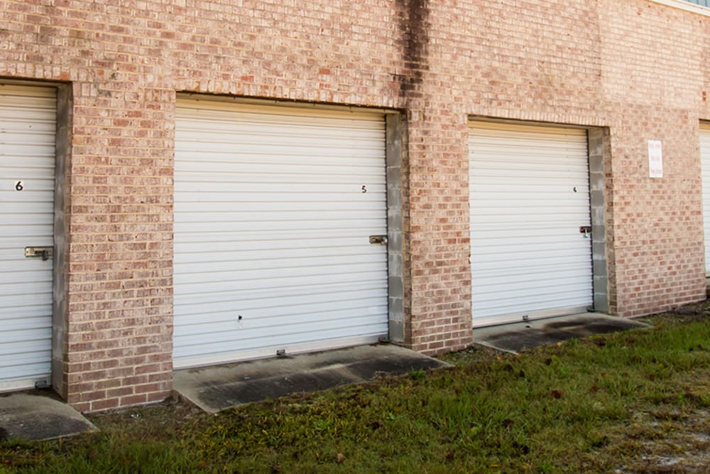 Garage style roll up doors on self storage units at StayLock Storage in Camden, South Carolina