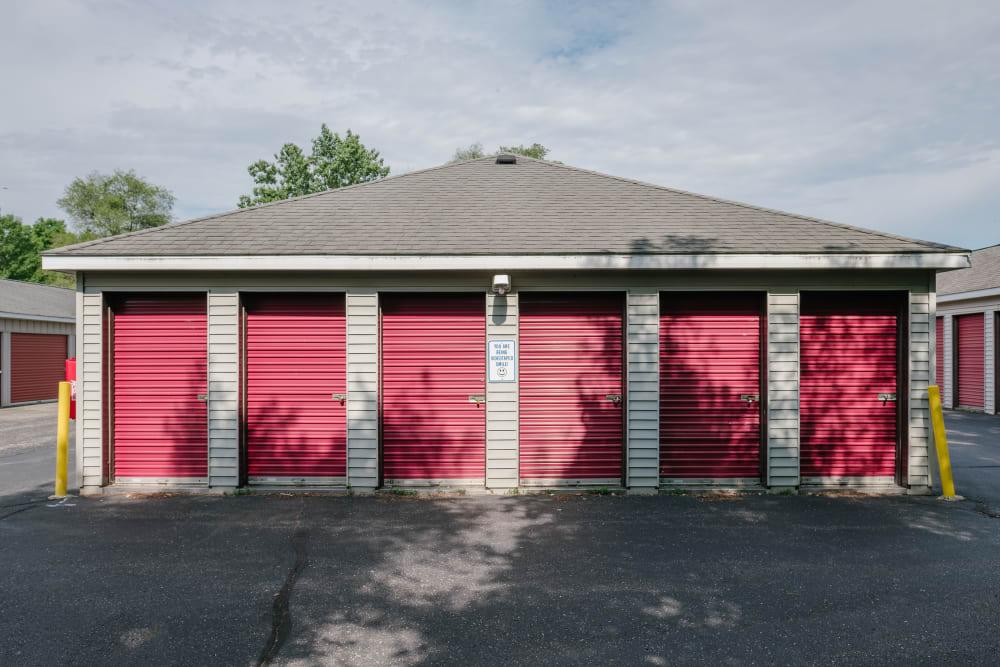 Garage style roll up doors on self storage units at StayLock Storage in Battle Creek, Michigan