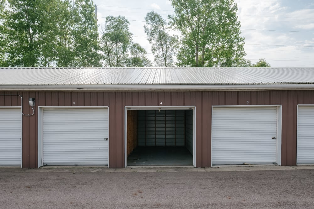 Garage style roll up doors on self storage units at StayLock Storage in Battle Creek, Michigan