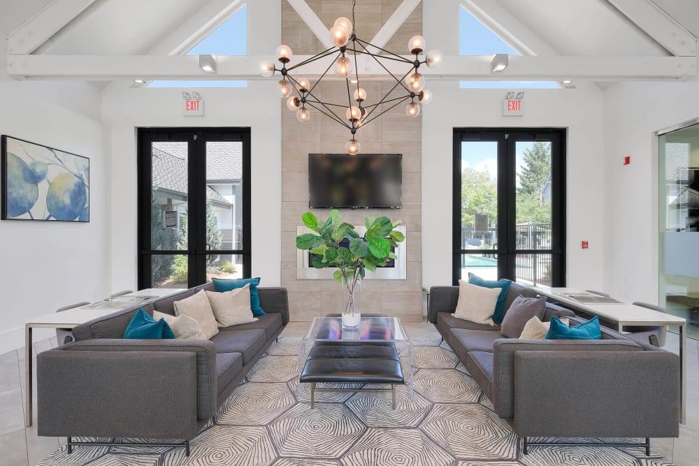Luxurious lobby interior at Centro Apartment Homes in Hillsboro, Oregon
