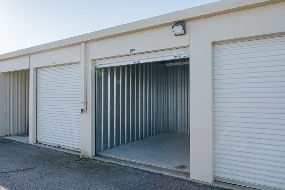 Garage style roll up doors on self storage units at StayLock Storage in Saint Joseph, Michigan