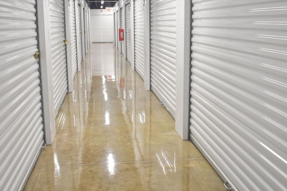 Interior climate controlled storage units at Storage 365 in Dallas, Texas