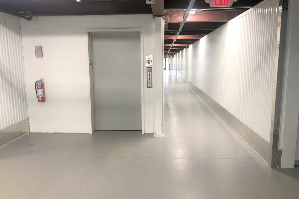 Elevator access to storage units at Storage 365 in St. Paul, Minnesota