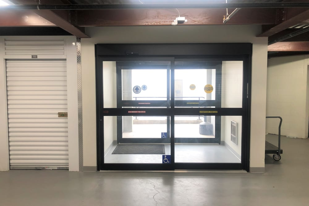 The automatic sliding access doors at Storage 365 in St. Paul, Minnesota