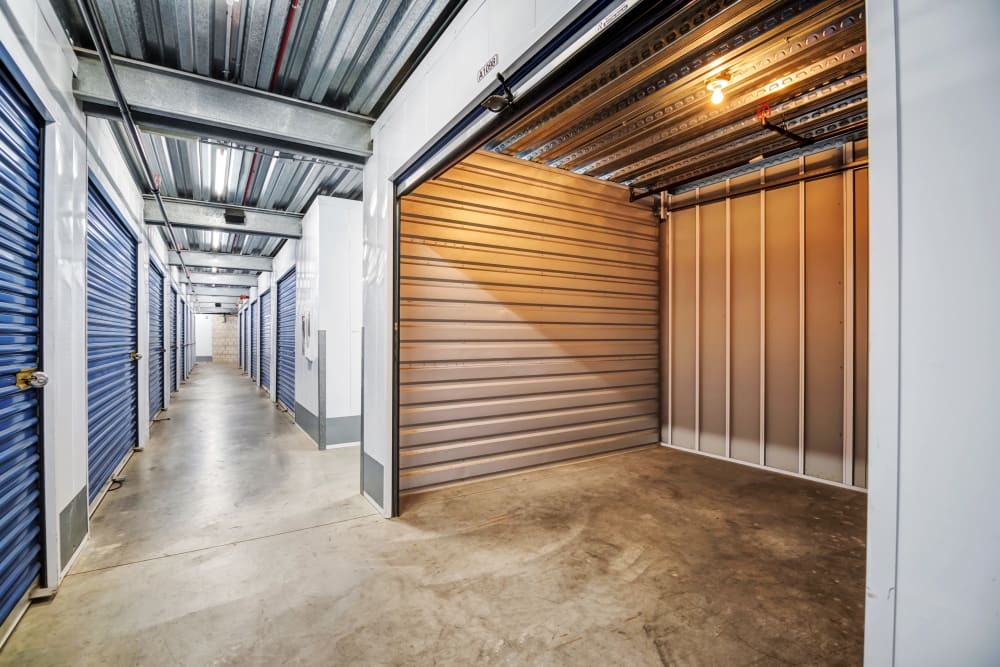 Clean interior hallways at National/54 Self Storage
