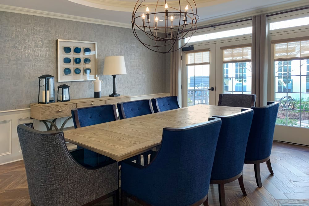 private room with large table and chairs