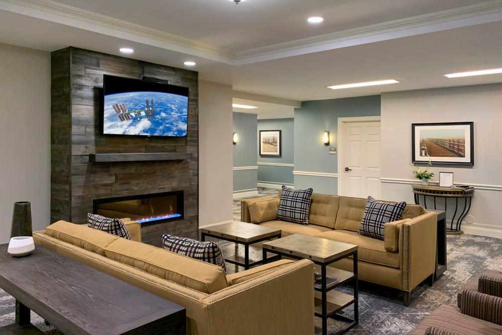 modern couches near TV