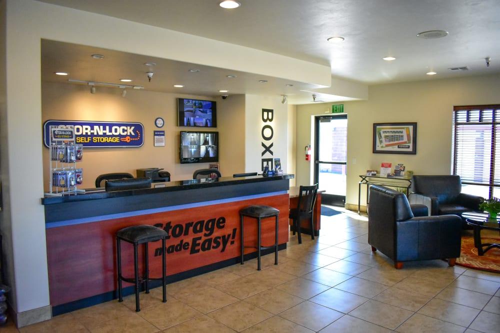 Inside the welcoming office at STOR-N-LOCK Self Storage in Hurricane, Utah