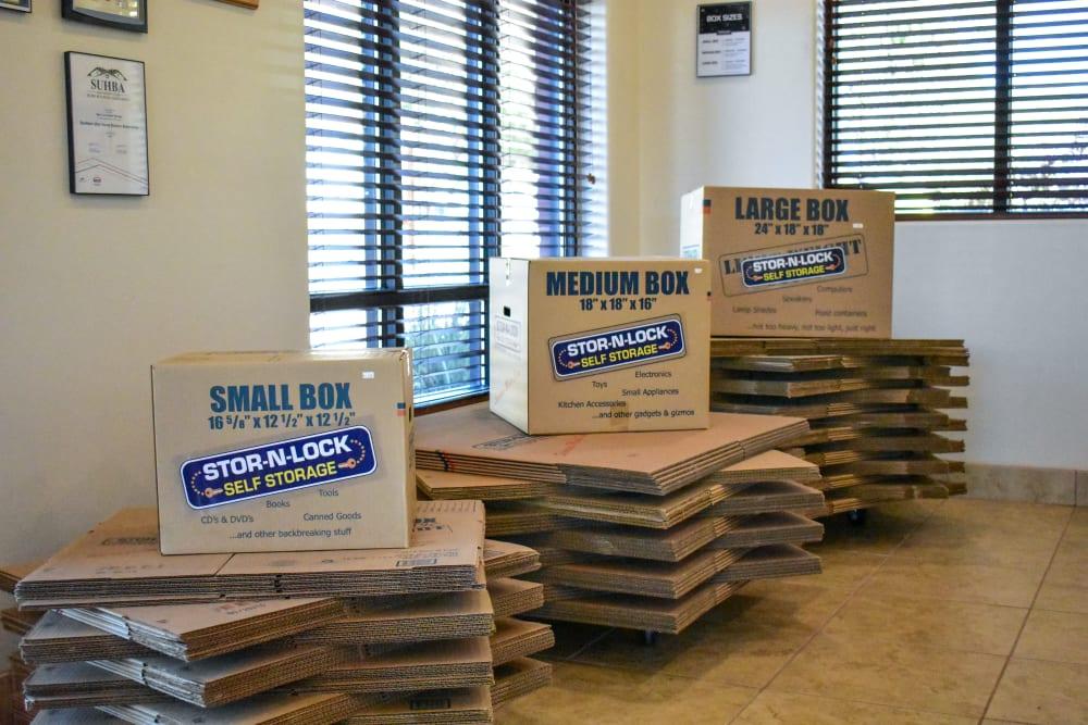 Moving boxes for sale at STOR-N-LOCK Self Storage in Hurricane, Utah