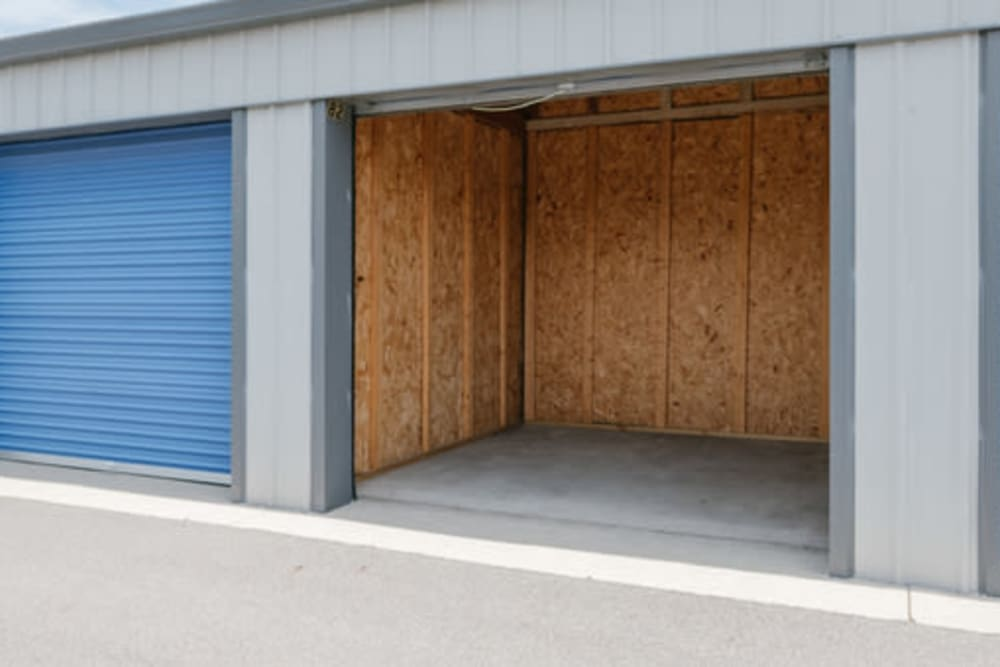 Garage style roll up doors on self storage units at StayLock Storage in Bristol, Indiana
