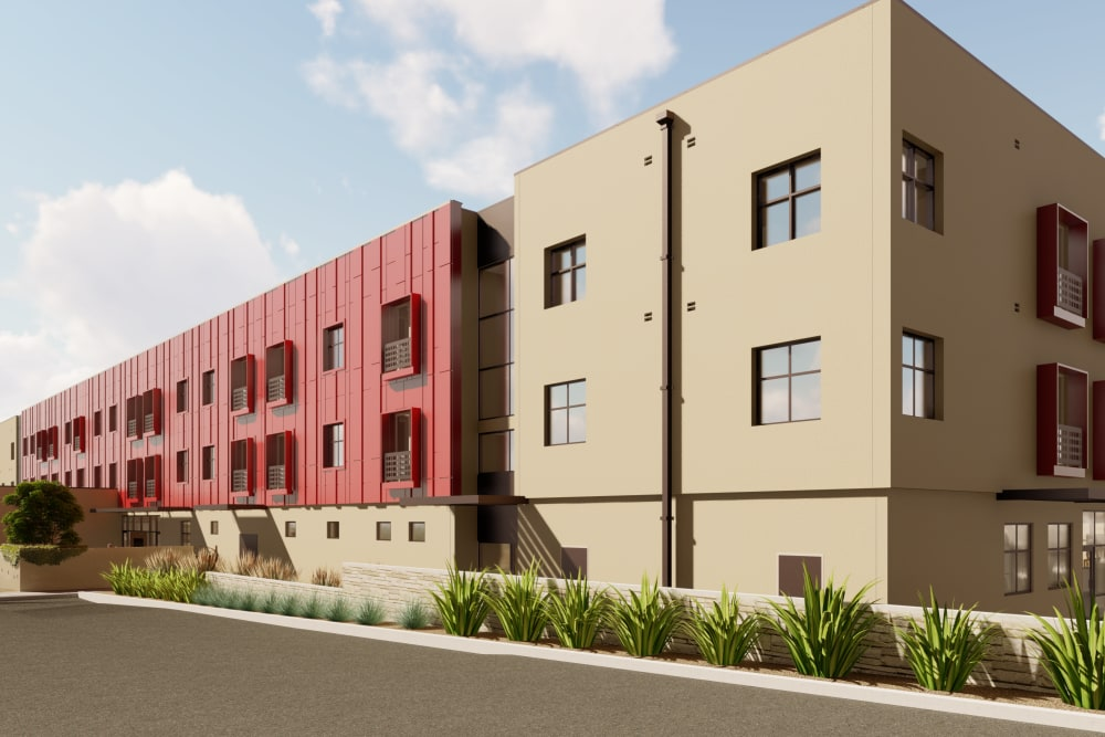 Rendering of a main building at Amaran Senior Living in Albuquerque, New Mexico.