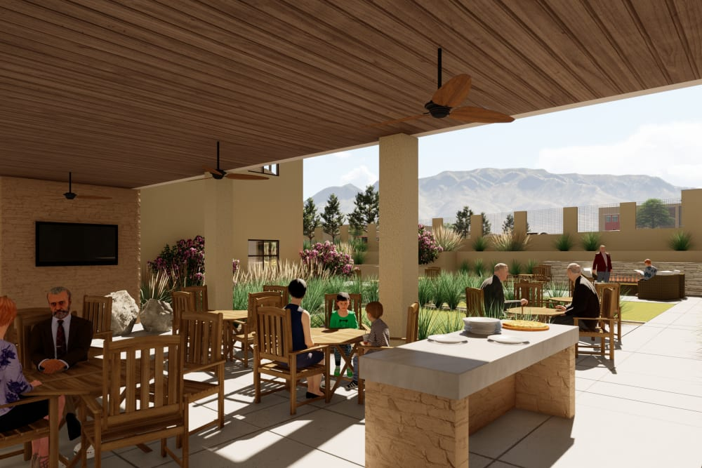 Rendering of an outdoor eating area at Amaran Senior Living in Albuquerque, New Mexico.